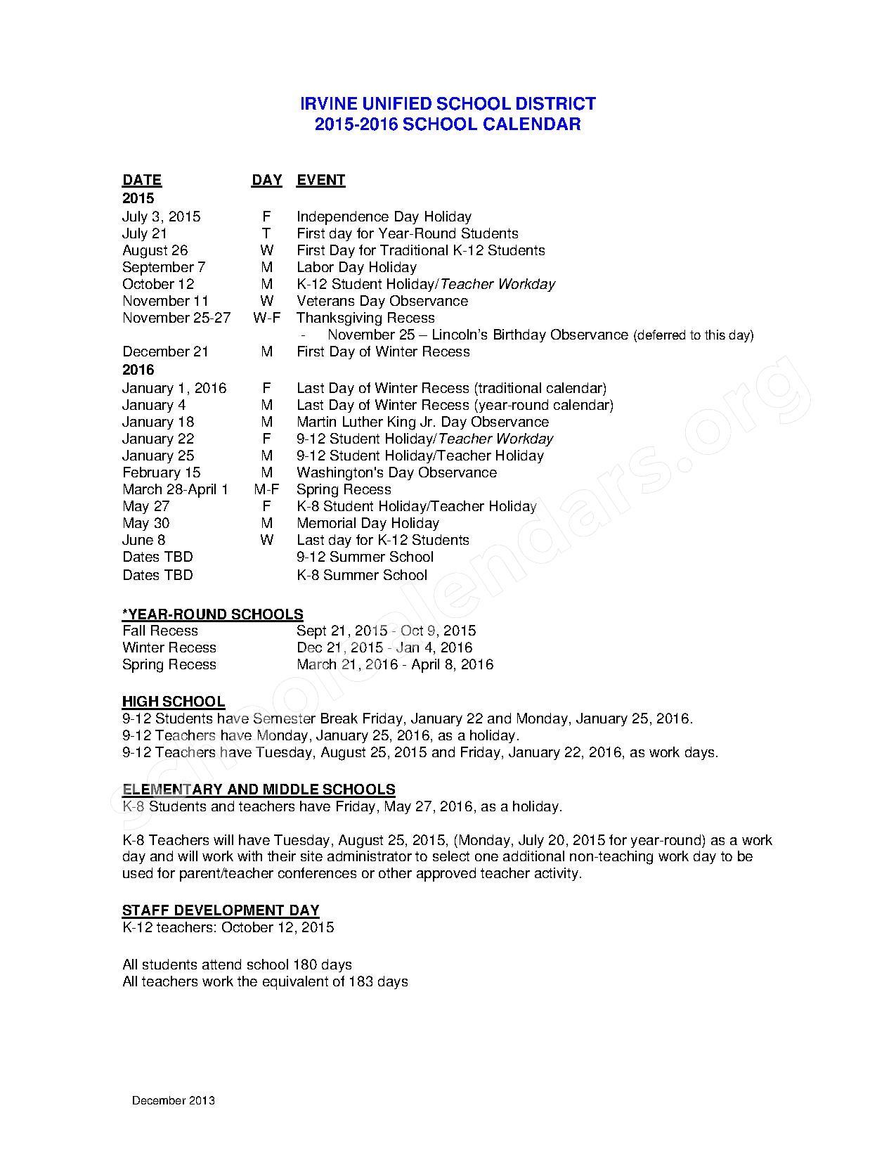 Irvine School District Calendar 2016 School Calendar Page