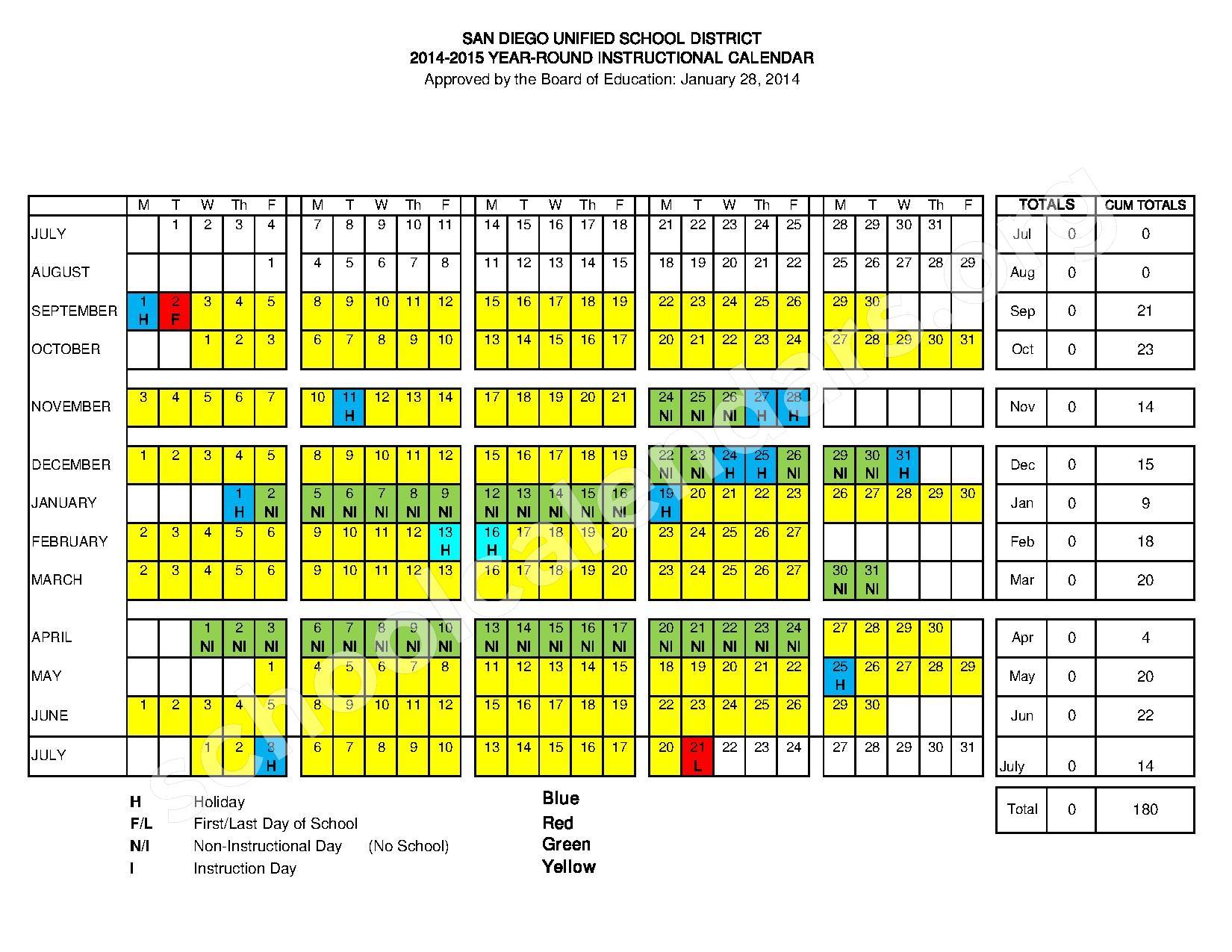 Irvine School District Calendar 2016 Year Round Academic Calendar Page