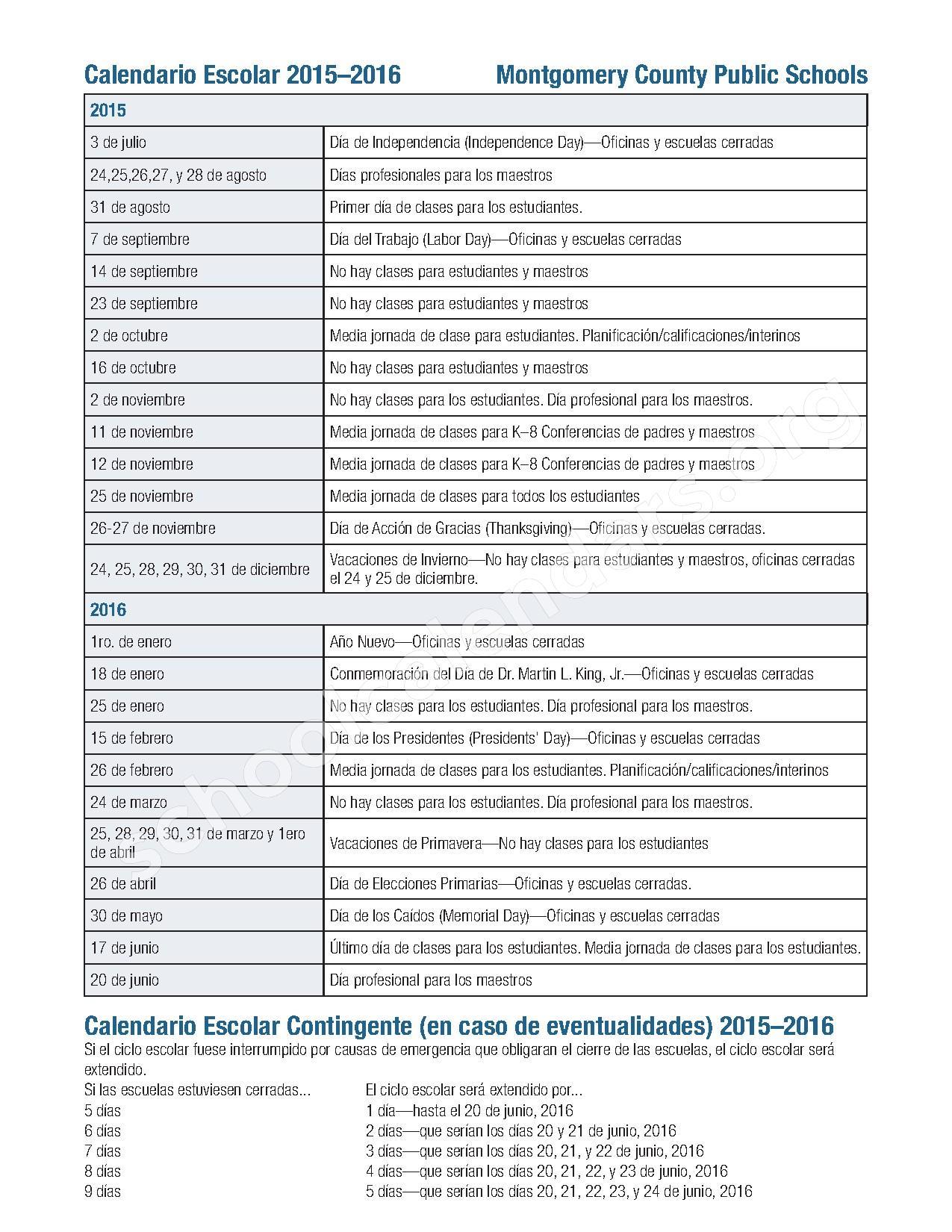 Instructional Calendars |Calendars | District Information ...